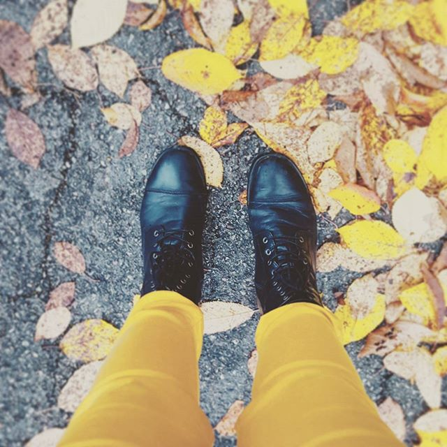 selfie-pants-yellow-leaves-autumn